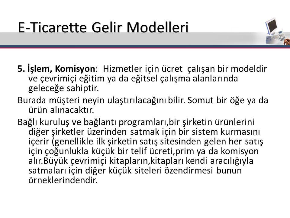 E-Ticarette Gelir Modelleri 5.