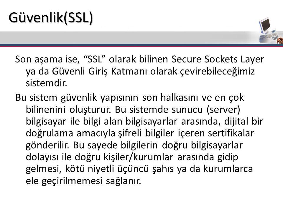 Son aşama ise, SSL olarak bilinen Secure Sockets Layer ya da Güvenli Giriş Katmanı olarak çevirebileceğimiz sistemdir.