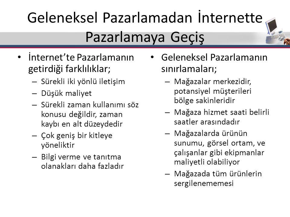 Geleneksel Pazarlamadan İnternette Pazarlamaya Geçiş İnternet'te Pazarlamanın getirdiği farklılıklar; – Sürekli iki yönlü iletişim – Düşük maliyet – S