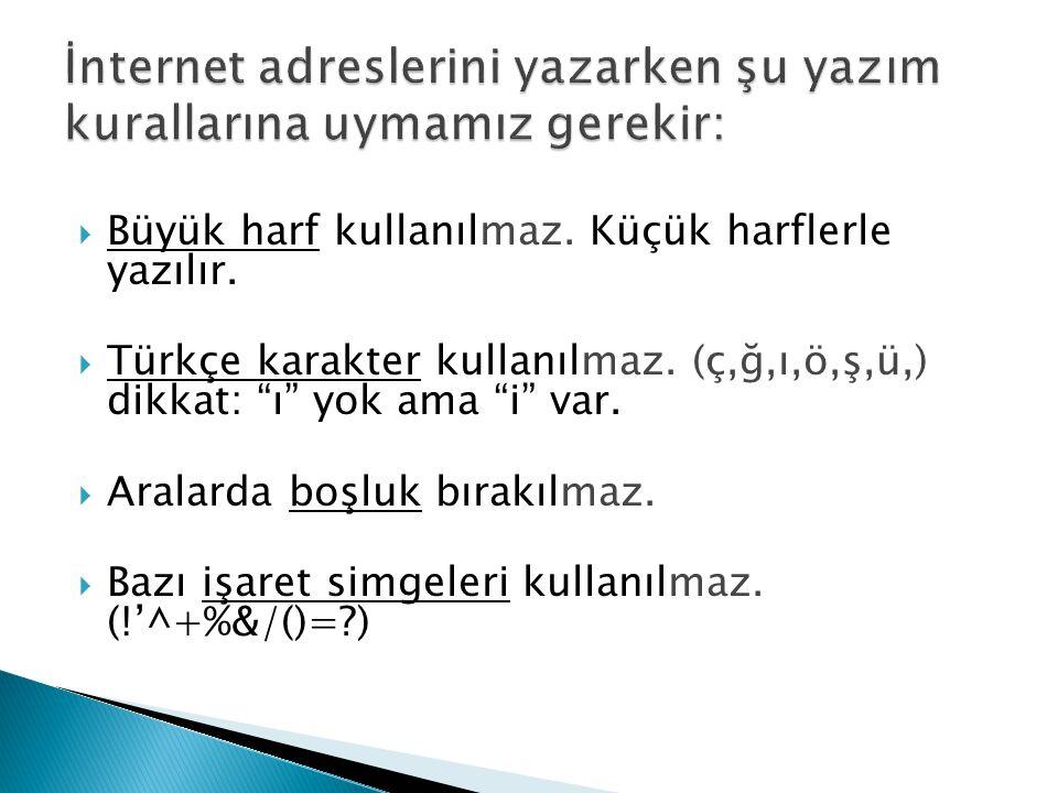 """ Büyük harf kullanılmaz. Küçük harflerle yazılır.  Türkçe karakter kullanılmaz. (ç,ğ,ı,ö,ş,ü,) dikkat: """"ı"""" yok ama """"i"""" var.  Aralarda boşluk bırakı"""