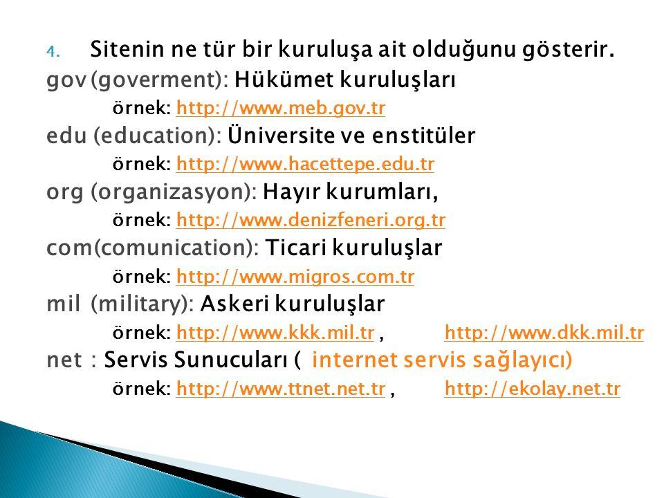 4. Sitenin ne tür bir kuruluşa ait olduğunu gösterir. gov(goverment): Hükümet kuruluşları örnek: http://www.meb.gov.trhttp://www.meb.gov.tr edu (educa