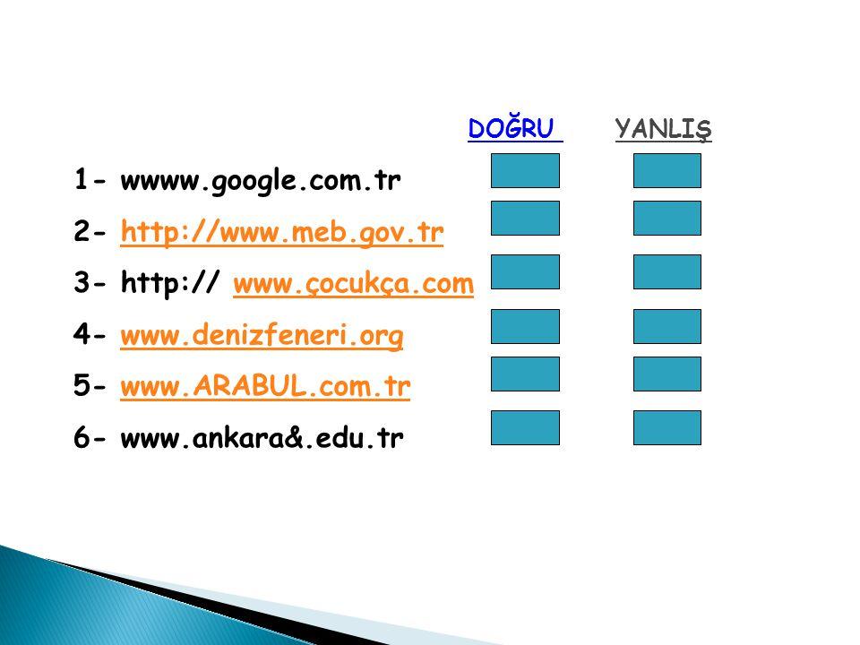 DOĞRU YANLIŞ 1- wwww.google.com.tr 2- http://www.meb.gov.trhttp://www.meb.gov.tr 3- http:// www.çocukça.comwww.çocukça.com 4- www.denizfeneri.orgwww.denizfeneri.org 5- www.ARABUL.com.trwww.ARABUL.com.tr 6- www.ankara&.edu.tr