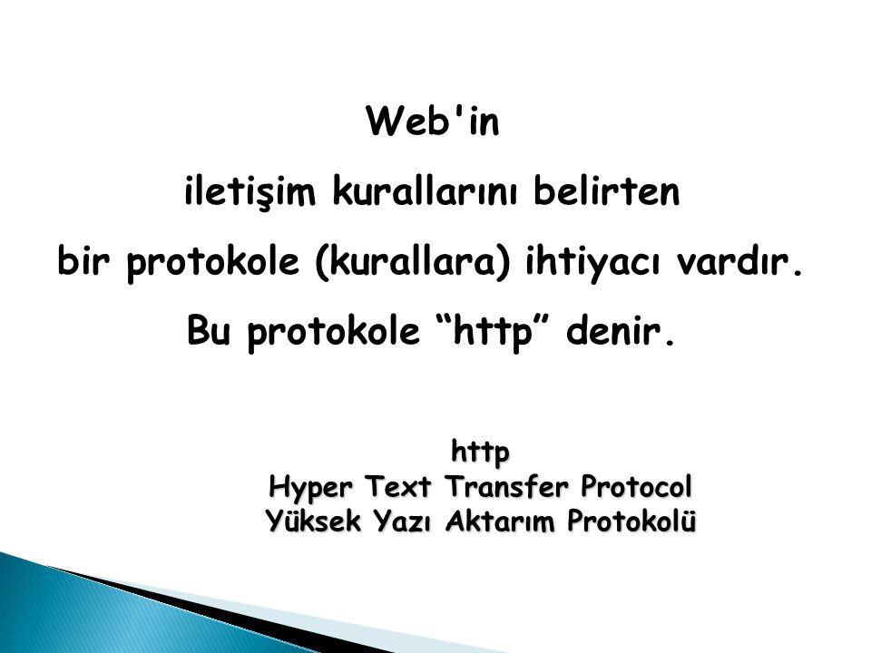 """Web'in iletişim kurallarını belirten bir protokole (kurallara) ihtiyacı vardır. Bu protokole """"http"""" denir. http Hyper Text Transfer Protocol Yüksek Ya"""