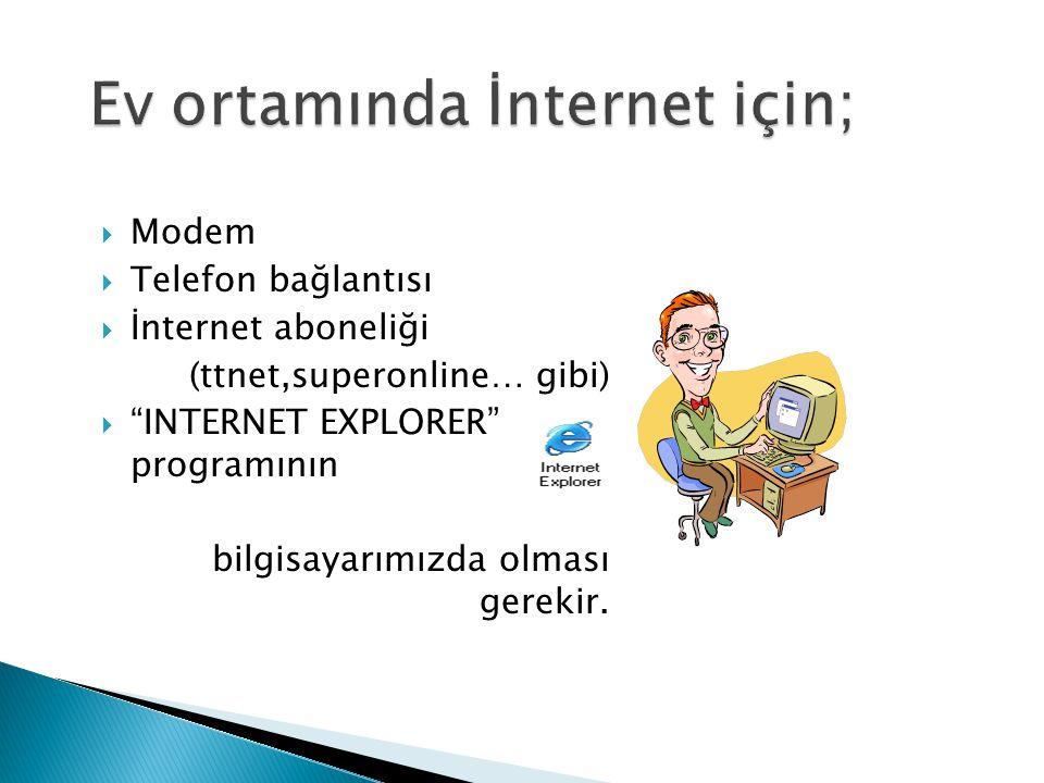  Modem  Telefon bağlantısı  İnternet aboneliği (ttnet,superonline… gibi)  INTERNET EXPLORER programının bilgisayarımızda olması gerekir.