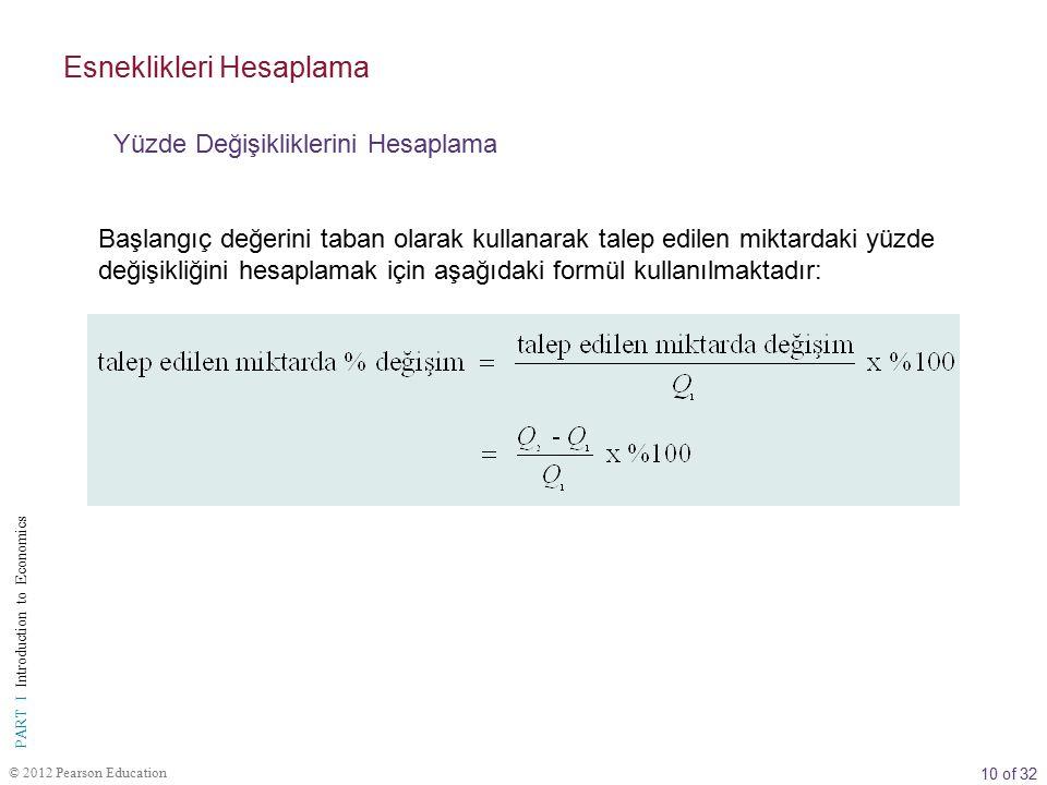 10 of 32 PART I Introduction to Economics © 2012 Pearson Education Başlangıç değerini taban olarak kullanarak talep edilen miktardaki yüzde değişikliğ