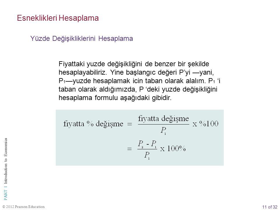 12 of 32 PART I Introduction to Economics © 2012 Pearson Education Talep edilen miktar ve fiyattaki değişiklikler yuzdelere donuşturuldukten sonra esnekliği hesaplamak basit bolme işleminden ibarettir.
