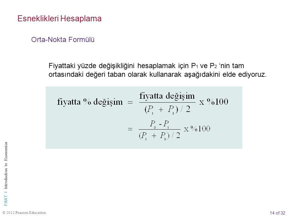 14 of 32 PART I Introduction to Economics © 2012 Pearson Education Fiyattaki yüzde değişikliğini hesaplamak için P 1 ve P 2 'nin tam ortasındaki değer