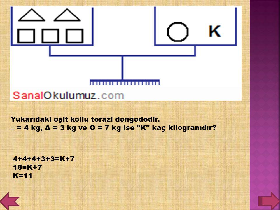 Yukarıdaki eşit kollu terazi dengededir. □ = 4 kg, Δ = 3 kg ve O = 7 kg ise