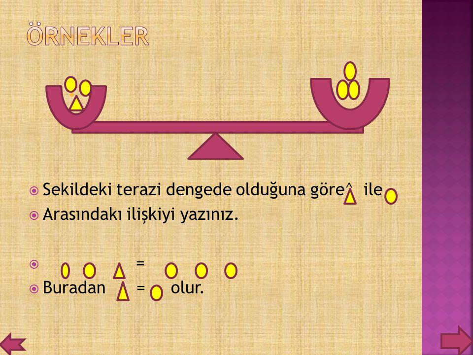  Sekildeki terazi dengede olduğuna göre^ ile  Arasındakı ilişkiyi yazınız.  =  Buradan = olur.