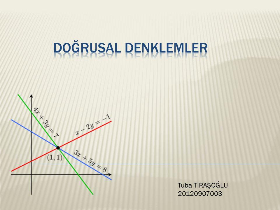  Doğrusal ilişkiyi ifade eden denklem doğrusal denklemdir.
