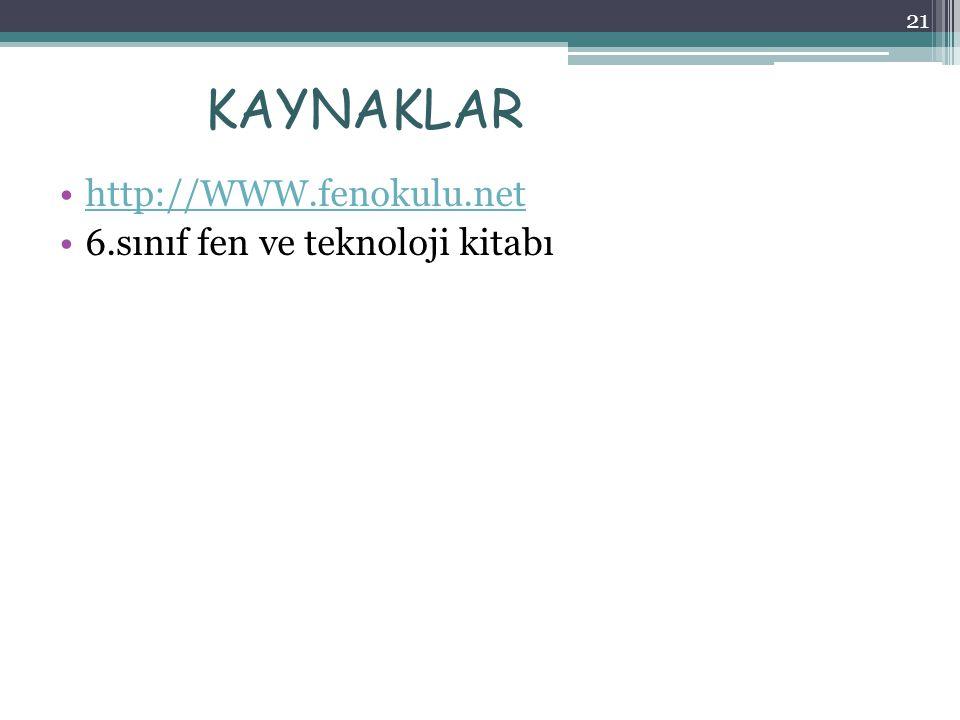 KAYNAKLAR http://WWW.fenokulu.net 6.sınıf fen ve teknoloji kitabı 21