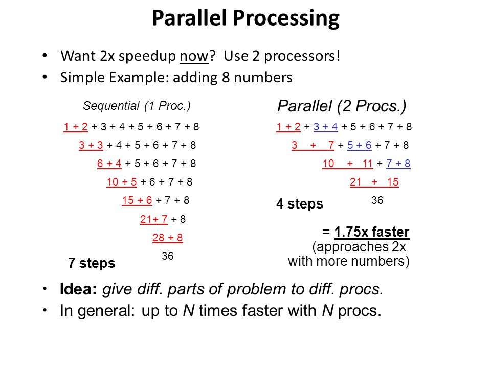 Parallel Processing Want 2x speedup now? Use 2 processors! Simple Example: adding 8 numbers 1 + 2 + 3 + 4 + 5 + 6 + 7 + 8 3 + 3 + 4 + 5 + 6 + 7 + 8 6