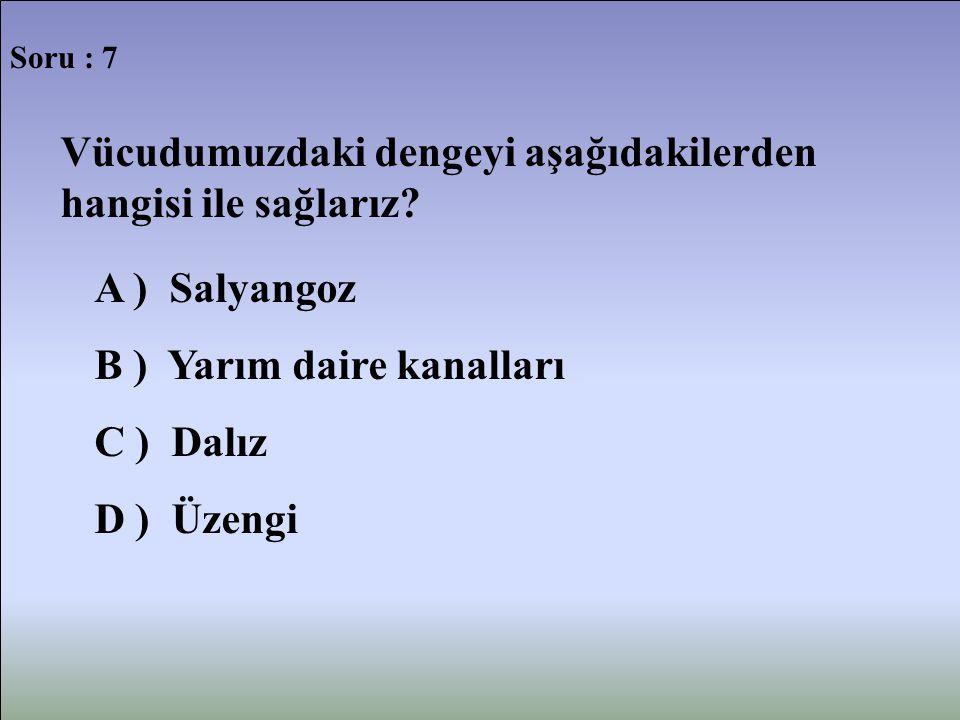 Soru : 7 Vücudumuzdaki dengeyi aşağıdakilerden hangisi ile sağlarız? A ) Salyangoz B ) Yarım daire kanalları C ) Dalız D ) Üzengi