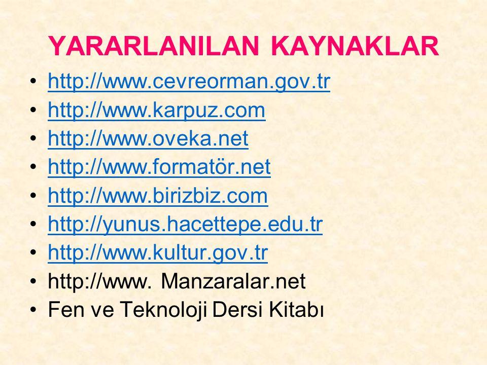 YARARLANILAN KAYNAKLAR http://www.cevreorman.gov.tr http://www.karpuz.com http://www.oveka.net http://www.formatör.net http://www.birizbiz.com http://