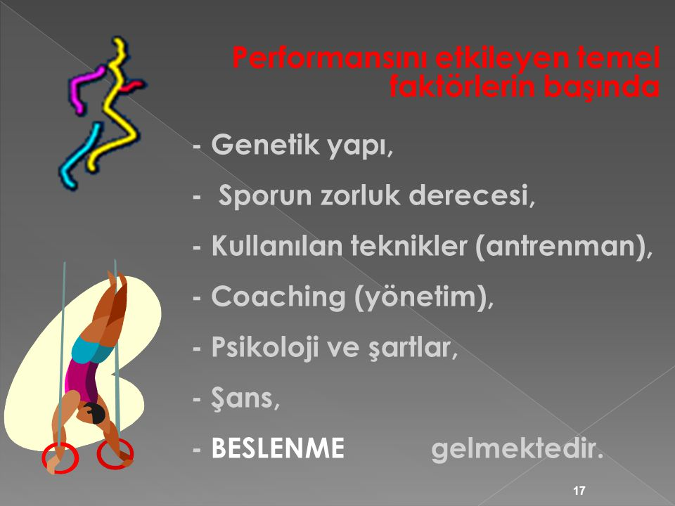 17 - Genetik yapı, - Sporun zorluk derecesi, - Kullanılan teknikler (antrenman), - Coaching (yönetim), - Psikoloji ve şartlar, - Şans, - BESLENME gelmektedir.