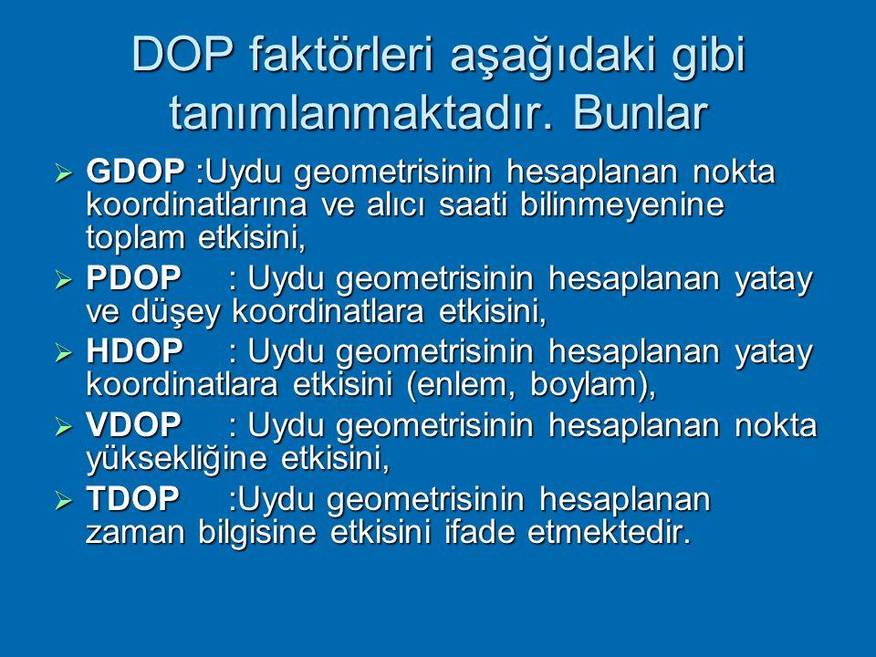  DOP faktörleri, uydu geometrisinin navigasyon çözümlerinden elde edilen doğruluklar üzerindeki etkilerini ifade eden ölçütlerdir.  DOP faktörleri g