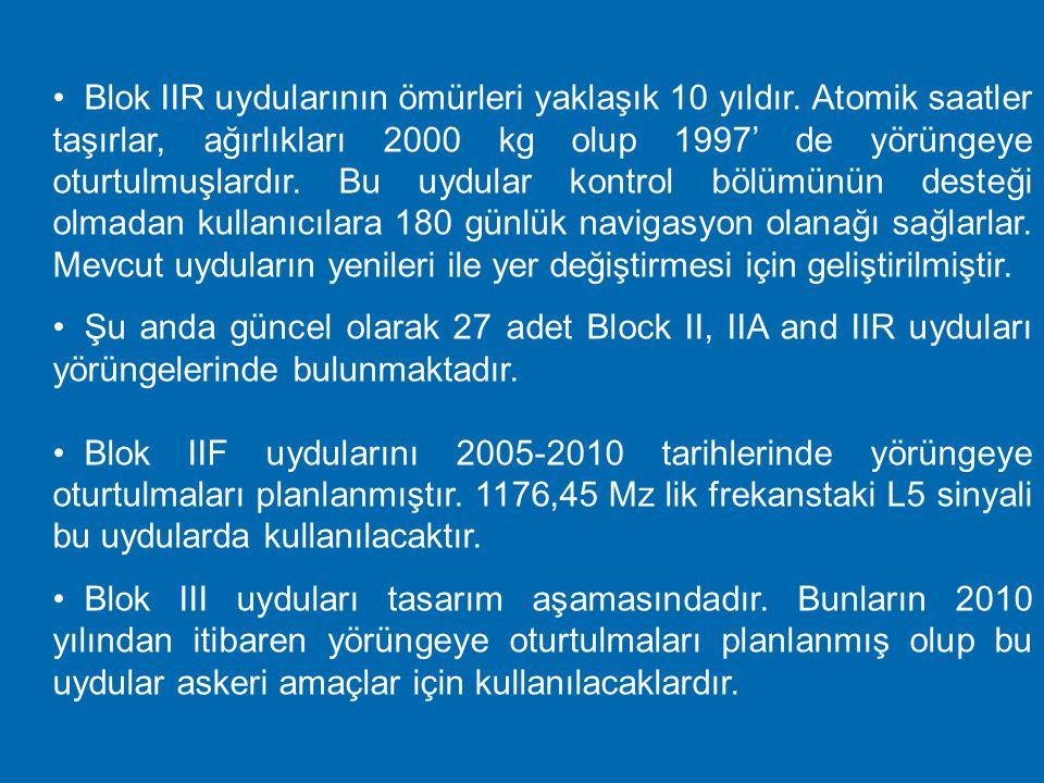 Uydulara ilişkin özellikler  Altı farklı tip GPS uydusu vardır. (Blok I, Blok II, Blok IIA, Blok IIR, Blok IIF ve Blok III)  Blok I uyduları 1978-19
