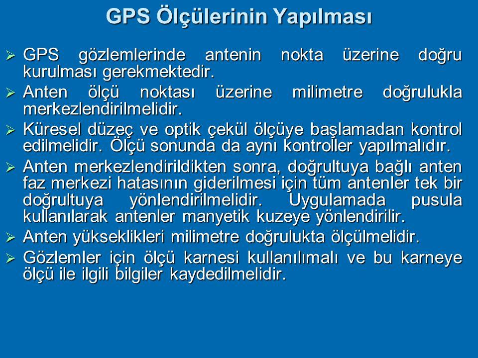 GPS proje planlamasında yeni nokta yeri seçiminde göz önünde tutulacak esaslar şunlardır:  Ölçü noktaları çevresinde uydu sinyallerinin alıcı antenin