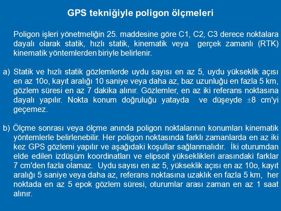 C3 derece noktalarının (ASN) GPS tekniğiyle oluşturulması a) C3 derece alım için sıklaştırma noktaları, alım için sıklaştırma alanında, en az bir C1,