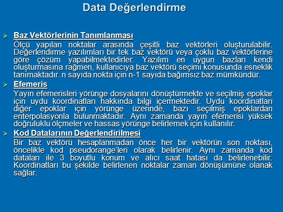 Data Değiştirme  Aktarım esnasında binari formatındaki alıcı dataları bilgisayar için bağımsız ASCII formatına dönüşmesine rağmen, datalar hala alıcı