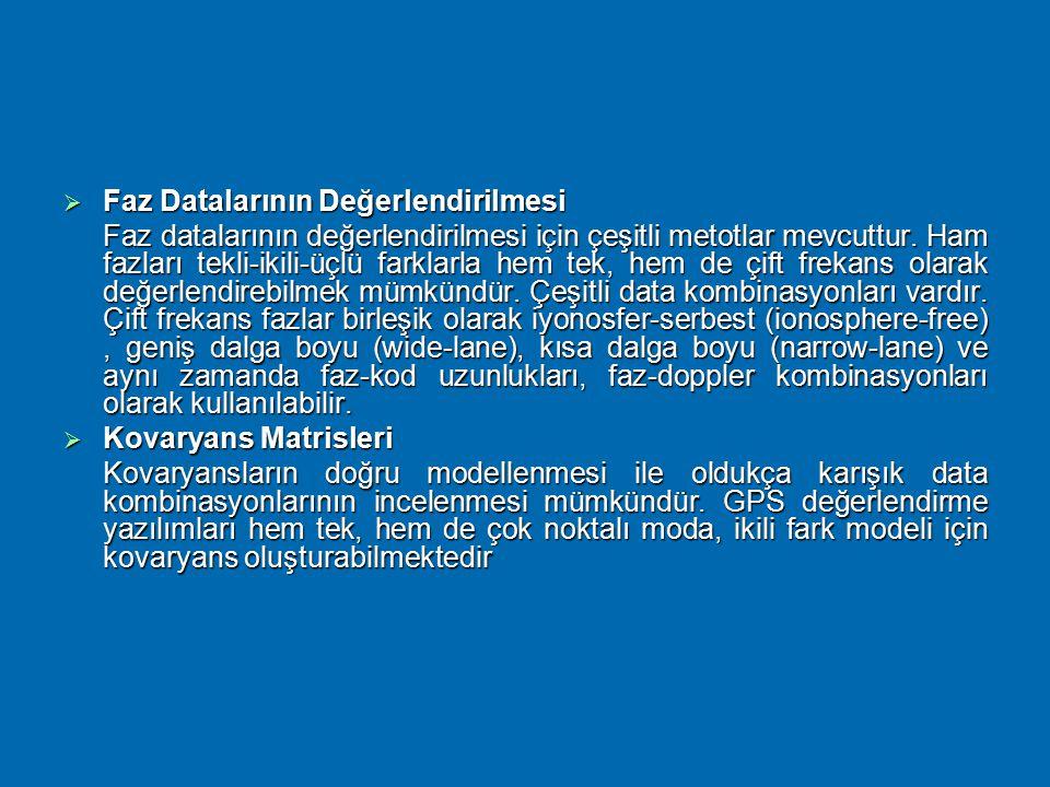 Data Değerlendirme  Baz Vektörlerinin Tanımlanması Ölçü yapılan noktalar arasında çeşitli baz vektörleri oluşturulabilir. Değerlendirme yazılımları b