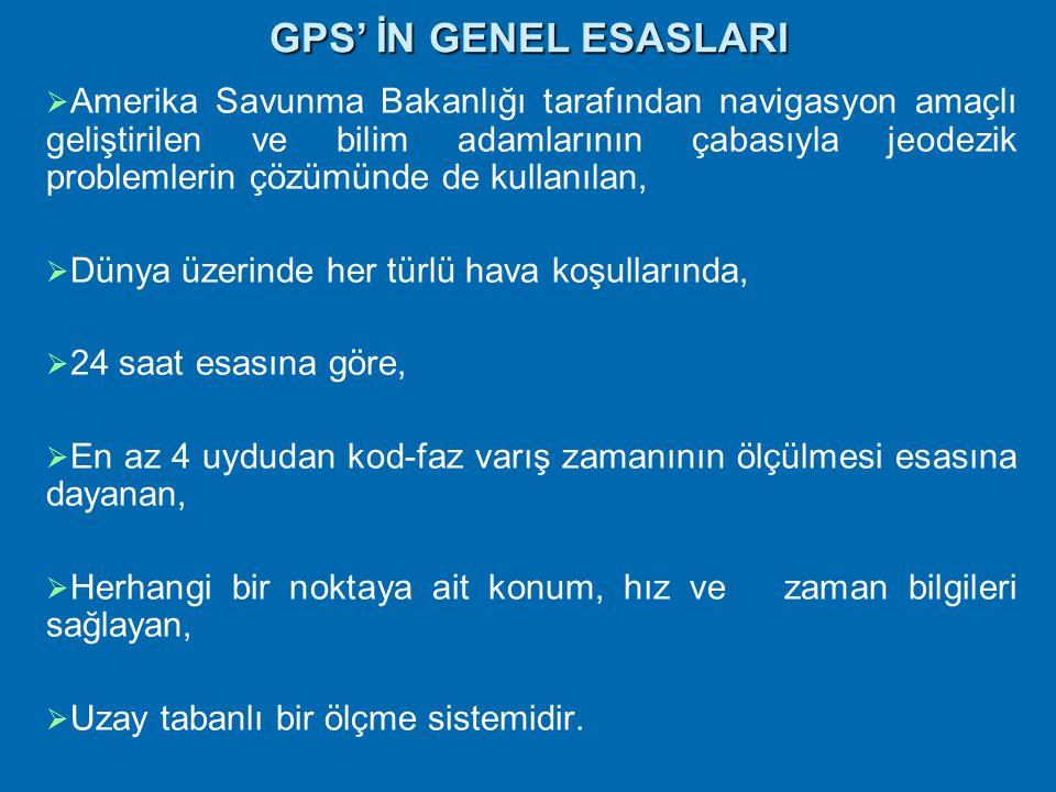 GPS ile Konum Belirlemede Temel İlkeler  GPS ile konum belirleme uydu-alıcı uzaklıklarının hesabına dayanan bir uzay geriden kestirme problemidir.