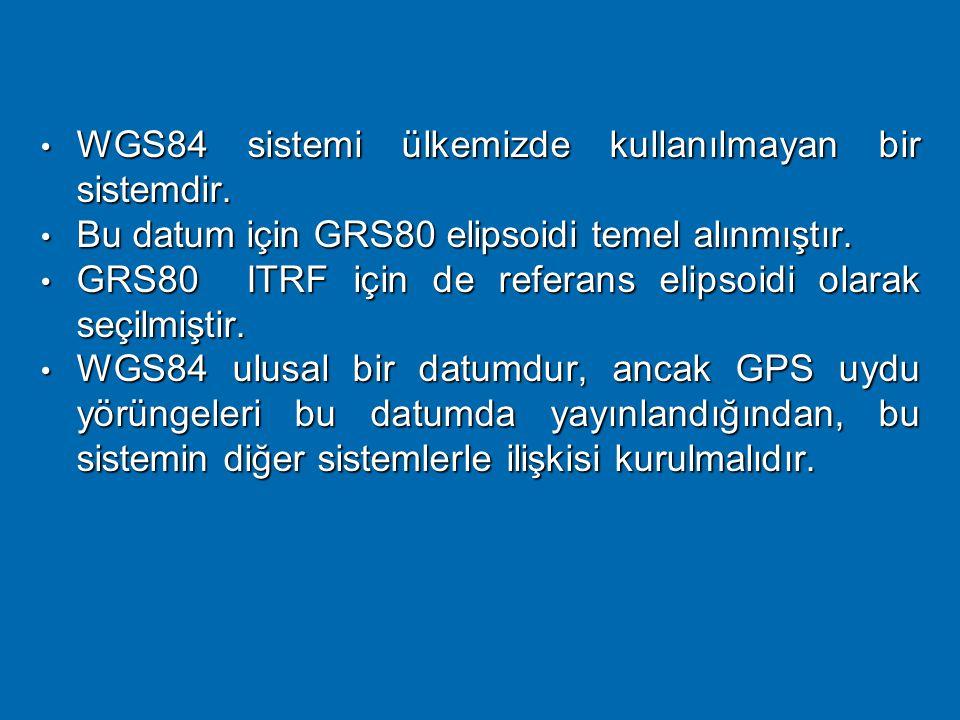 WGS 84 Sistemi  Bu sistem Dünya Jeodezik Sistemi 1984 olarak da tanımlanmaktadır. Sistemin kurucusu ABD savunma dairesi (DoD)'dur.  GPS uydularından