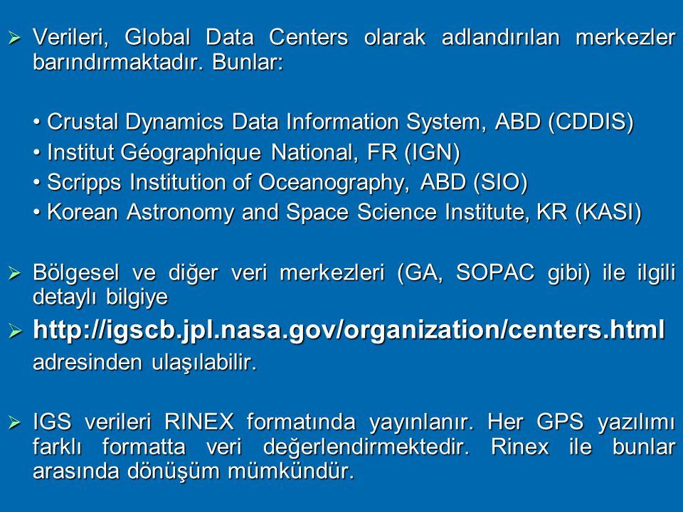 """ULUSLARARASI GPS SERVİSİ – IGS  Dünya çapında 200'den fazla sivil kurum ve kuruluş tarafından oluşturulmuş """"sabit GPS (ABD) & GLONASS (Rusya) istasyo"""