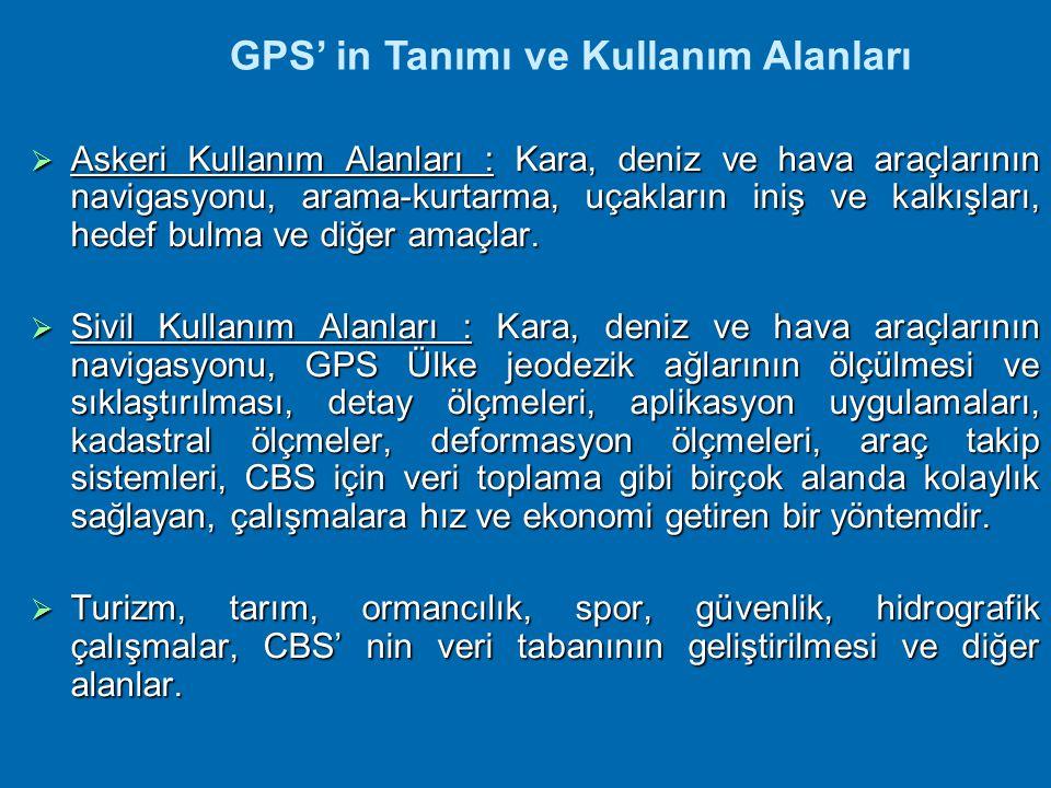 GPS ve ÜLKE SİSTEMİ GPS' in ülkemizde kullanışlığını artırmak için, GPS ile Ülke Sistemi arasındaki ilişkilerin tanımlanması gerekmektedir.