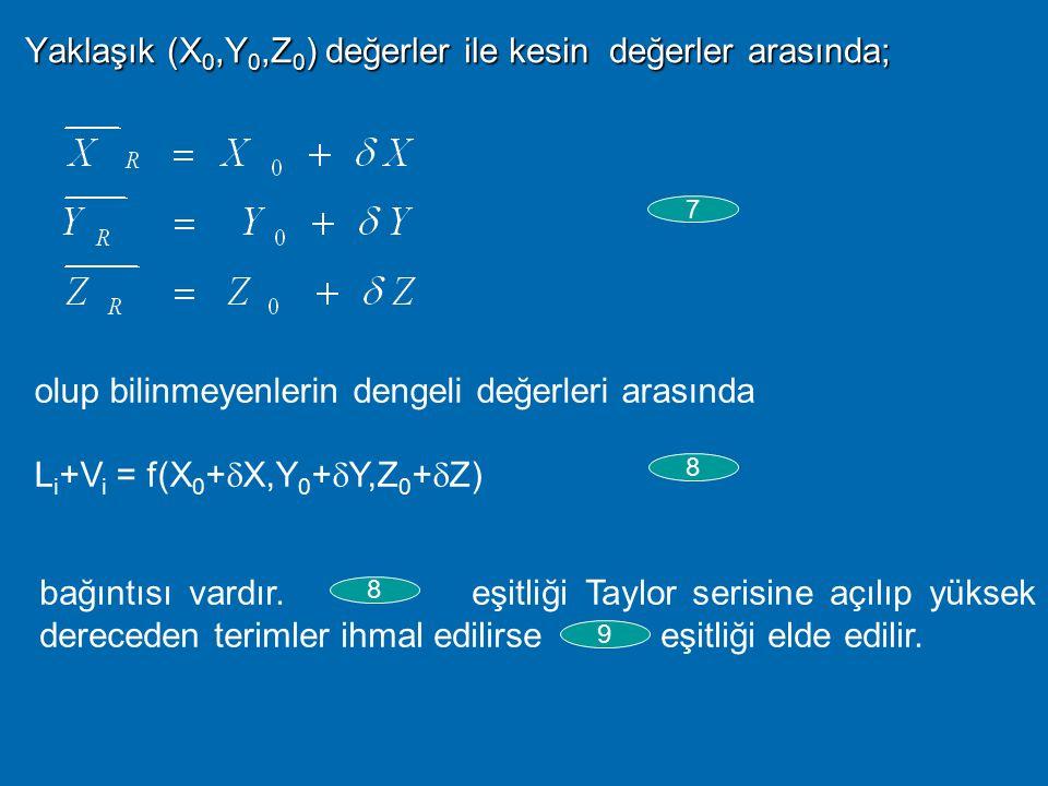 Böylece eşitliğinden geriye 4 bilinmeyen kalmaktadır. Bu 4 bilinmeyenin çözümü için 4 uyduya eş zamanlı yapılmış 4 pseudorange ölçüsüne gereksinim var