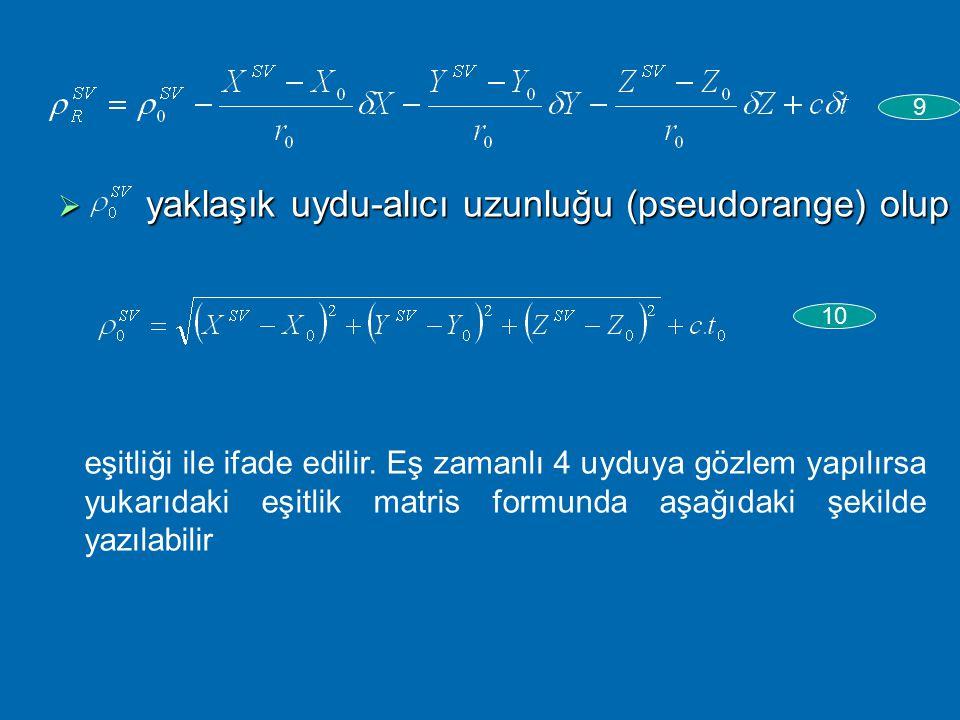 Yaklaşık (X 0,Y 0,Z 0 ) değerler ile kesin değerler arasında; 7 olup bilinmeyenlerin dengeli değerleri arasında L i +V i = f(X 0 +  X,Y 0 +  Y,Z 0 +