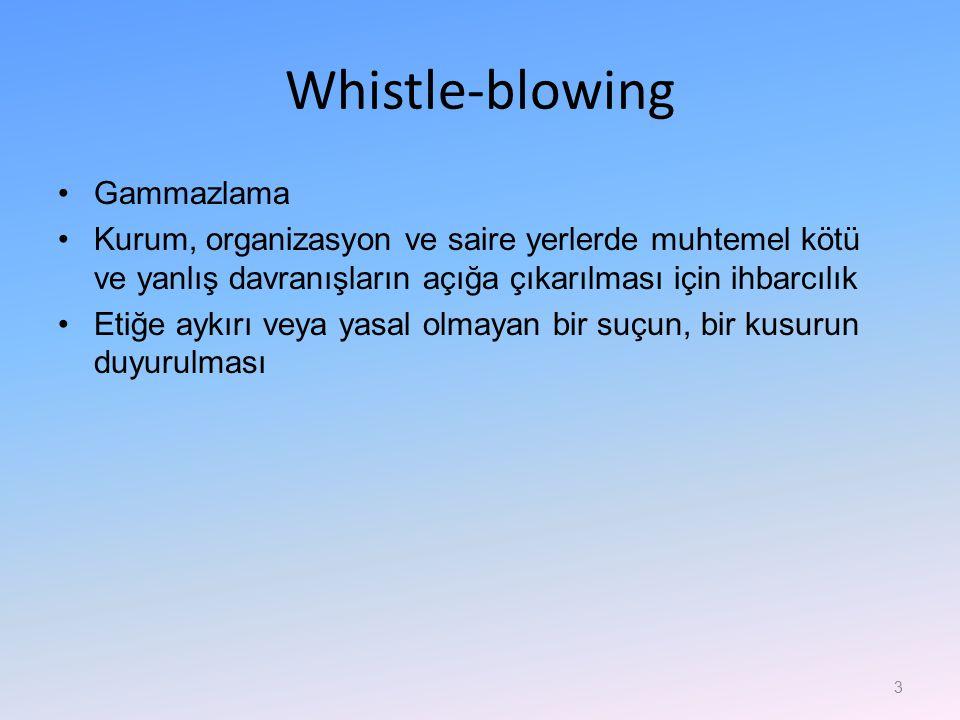 Whistle-blowing Gammazlama Kurum, organizasyon ve saire yerlerde muhtemel kötü ve yanlış davranışların açığa çıkarılması için ihbarcılık Etiğe aykırı