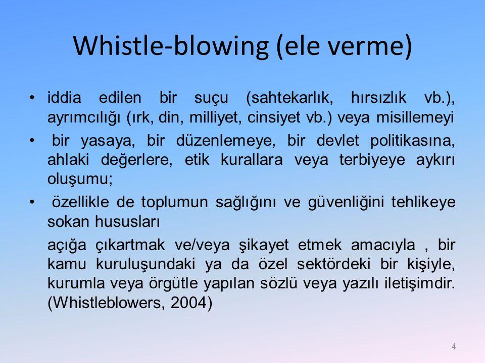 Whistle-blowing (ele verme) iddia edilen bir suçu (sahtekarlık, hırsızlık vb.), ayrımcılığı (ırk, din, milliyet, cinsiyet vb.) veya misillemeyi bir ya