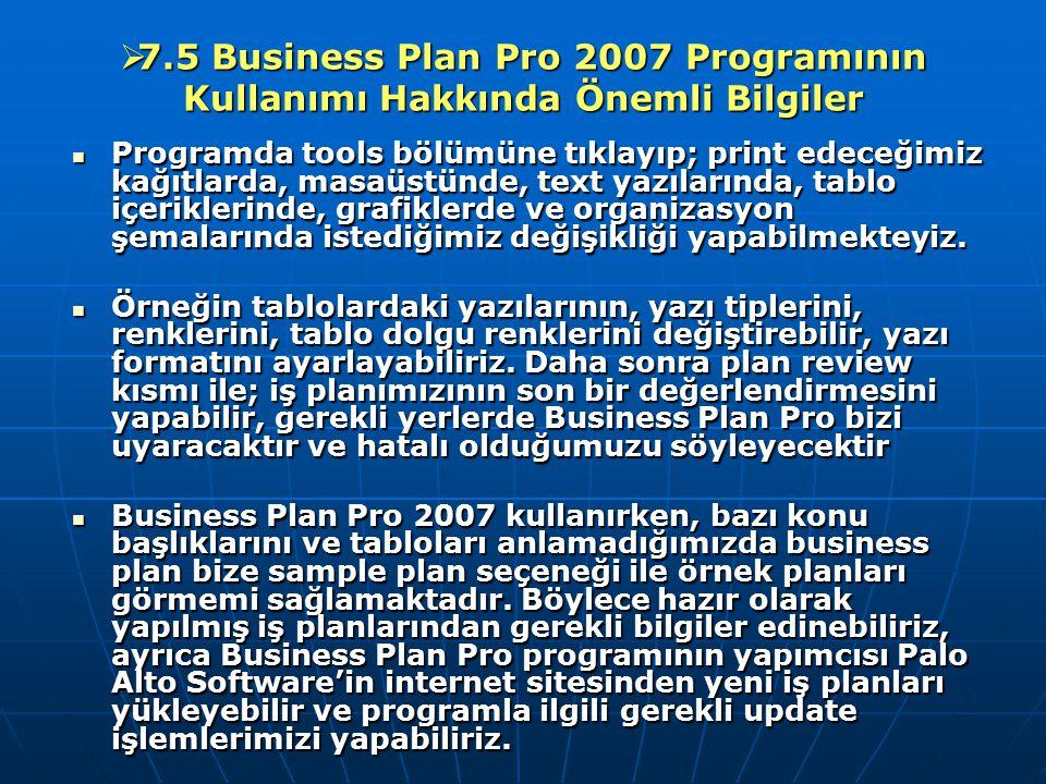  7.5 Business Plan Pro 2007 Programının Kullanımı Hakkında Önemli Bilgiler Programda tools bölümüne tıklayıp; print edeceğimiz kağıtlarda, masaüstünd