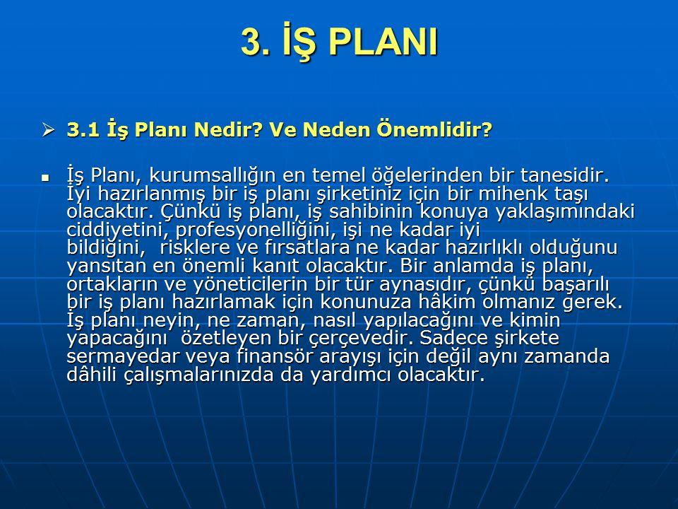 3. İŞ PLANI  3.1 İş Planı Nedir? Ve Neden Önemlidir? İş Planı, kurumsallığın en temel öğelerinden bir tanesidir. İyi hazırlanmış bir iş planı şirketi