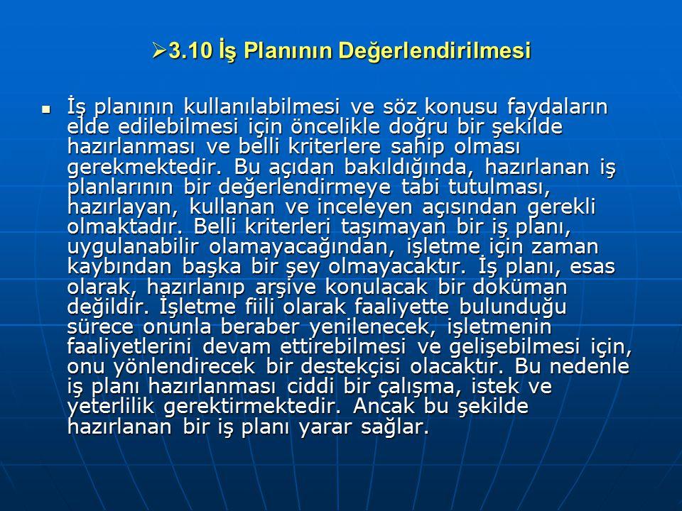  3.10 İş Planının Değerlendirilmesi İş planının kullanılabilmesi ve söz konusu faydaların elde edilebilmesi için öncelikle doğru bir şekilde hazırlan