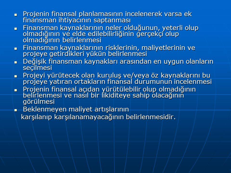 Projenin finansal planlamasının incelenerek varsa ek finansman ihtiyacının saptanması Projenin finansal planlamasının incelenerek varsa ek finansman i