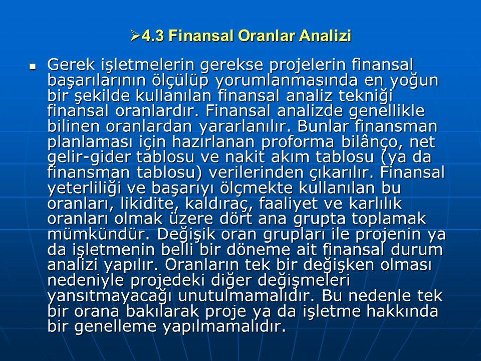  4.3 Finansal Oranlar Analizi Gerek işletmelerin gerekse projelerin finansal başarılarının ölçülüp yorumlanmasında en yoğun bir şekilde kullanılan fi