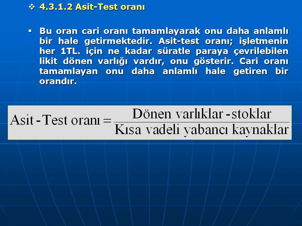  4.3.1.2 Asit-Test oranı  Bu oran cari oranı tamamlayarak onu daha anlamlı bir hale getirmektedir. Asit-test oranı; işletmenin her 1TL. için ne kada