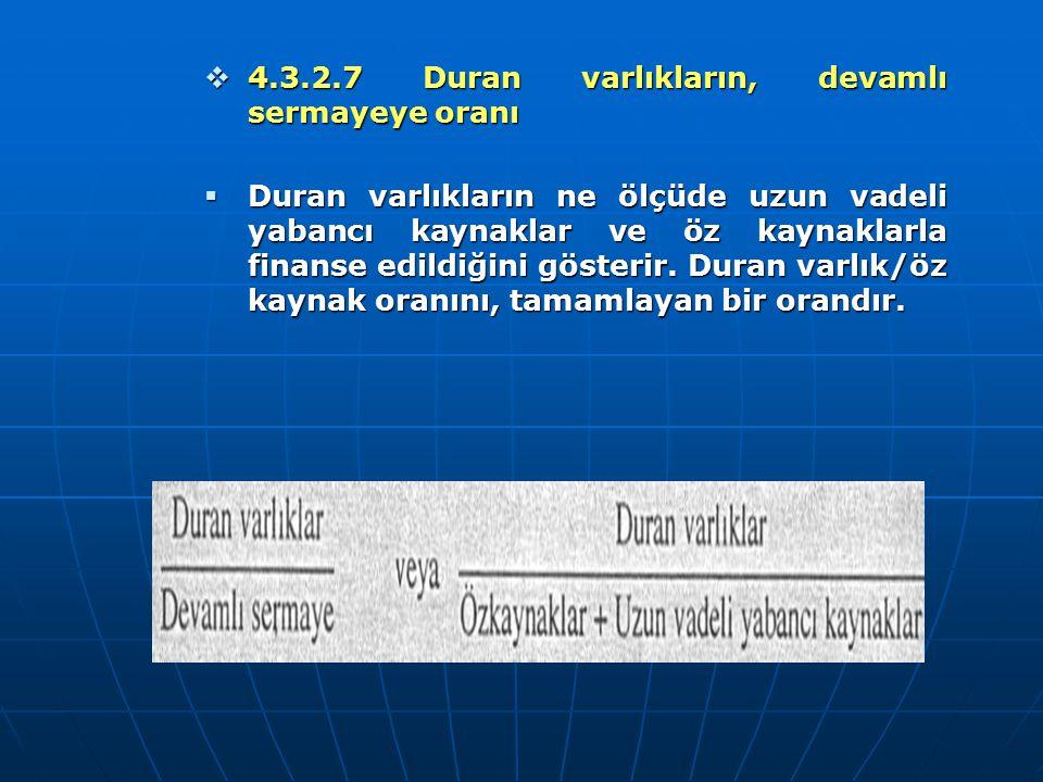  4.3.2.7 Duran varlıkların, devamlı sermayeye oranı  Duran varlıkların ne ölçüde uzun vadeli yabancı kaynaklar ve öz kaynaklarla finanse edildiğini