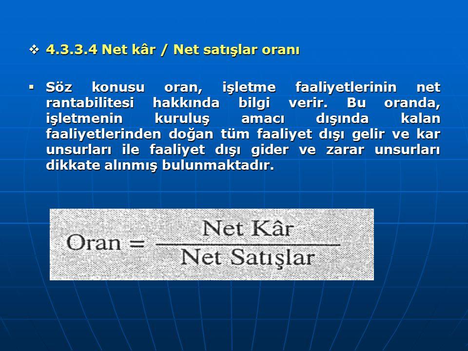  4.3.3.4 Net kâr / Net satışlar oranı  Söz konusu oran, işletme faaliyetlerinin net rantabilitesi hakkında bilgi verir. Bu oranda, işletmenin kurulu