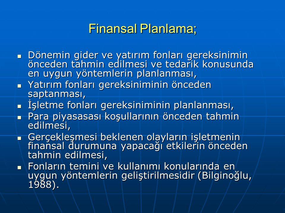 Finansal Planlama; Dönemin gider ve yatırım fonları gereksinimin önceden tahmin edilmesi ve tedarik konusunda en uygun yöntemlerin planlanması, Dönemi