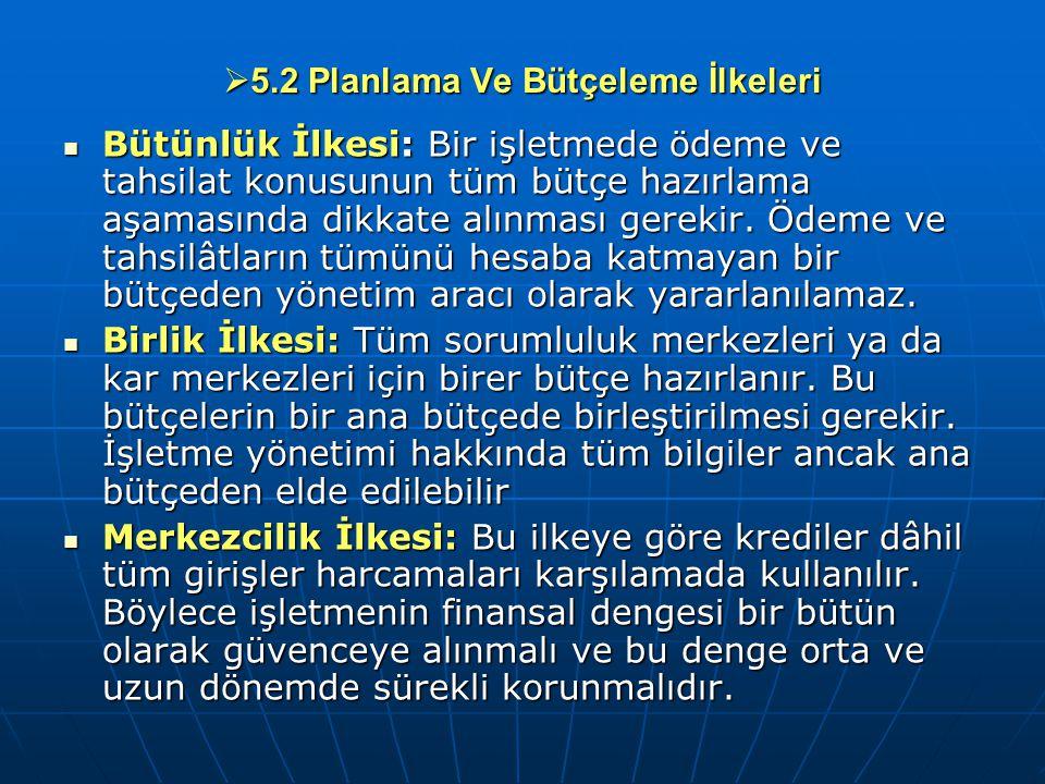  5.2 Planlama Ve Bütçeleme İlkeleri Bütünlük İlkesi: Bir işletmede ödeme ve tahsilat konusunun tüm bütçe hazırlama aşamasında dikkate alınması gereki