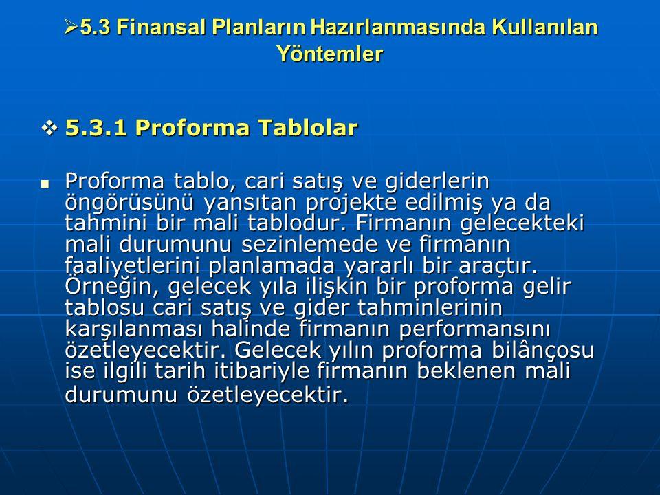  5.3 Finansal Planların Hazırlanmasında Kullanılan Yöntemler  5.3.1 Proforma Tablolar Proforma tablo, cari satış ve giderlerin öngörüsünü yansıtan p