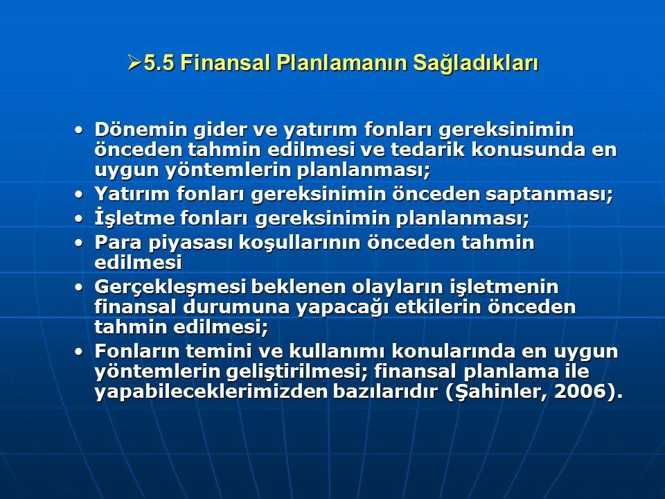  5.5 Finansal Planlamanın Sağladıkları Dönemin gider ve yatırım fonları gereksinimin önceden tahmin edilmesi ve tedarik konusunda en uygun yöntemleri