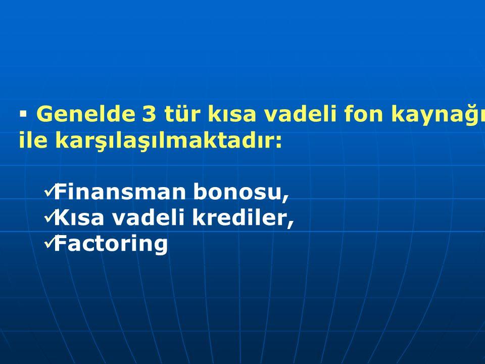  Genelde 3 tür kısa vadeli fon kaynağı ile karşılaşılmaktadır: Finansman bonosu, Kısa vadeli krediler, Factoring