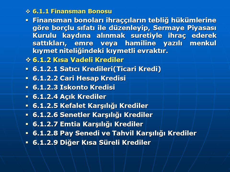  6.1.1 Finansman Bonosu  Finansman bonoları ihraççıların tebliğ hükümlerine göre borçlu sıfatı ile düzenleyip, Sermaye Piyasası Kurulu kaydına alınm