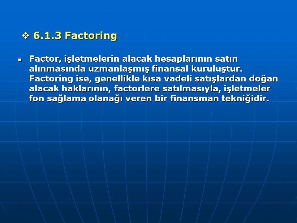  6.1.3 Factoring Factor, işletmelerin alacak hesaplarının satın alınmasında uzmanlaşmış finansal kuruluştur. Factoring ise, genellikle kısa vadeli sa