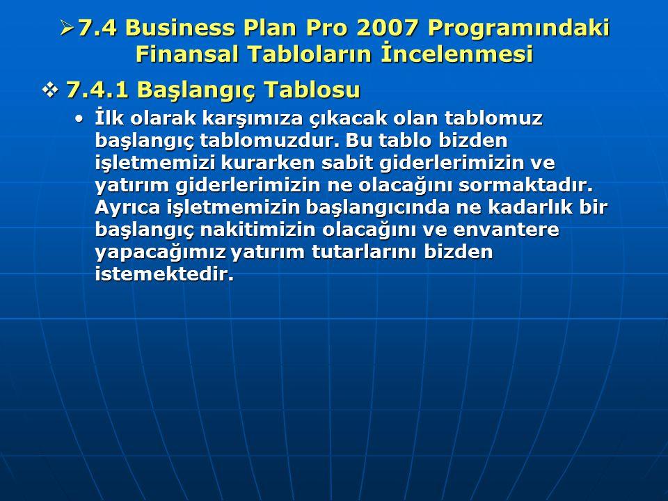  7.4 Business Plan Pro 2007 Programındaki Finansal Tabloların İncelenmesi  7.4.1 Başlangıç Tablosu İlk olarak karşımıza çıkacak olan tablomuz başlan