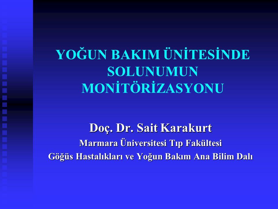 YOĞUN BAKIM ÜNİTESİNDE SOLUNUMUN MONİTÖRİZASYONU Doç. Dr. Sait Karakurt Marmara Üniversitesi Tıp Fakültesi Göğüs Hastalıkları ve Yoğun Bakım Ana Bilim